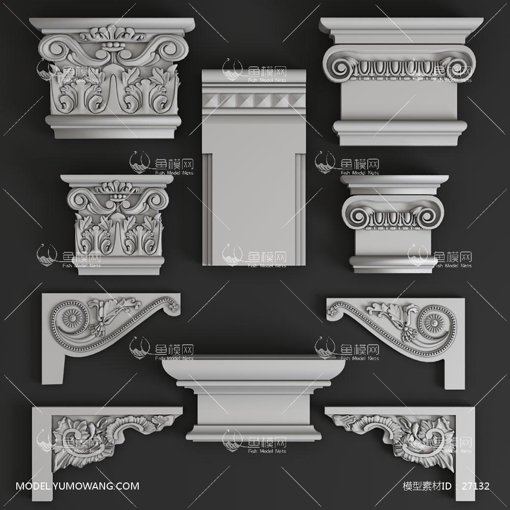 建模必备柱子罗马柱欧式石膏构件 (1),模型id:27132