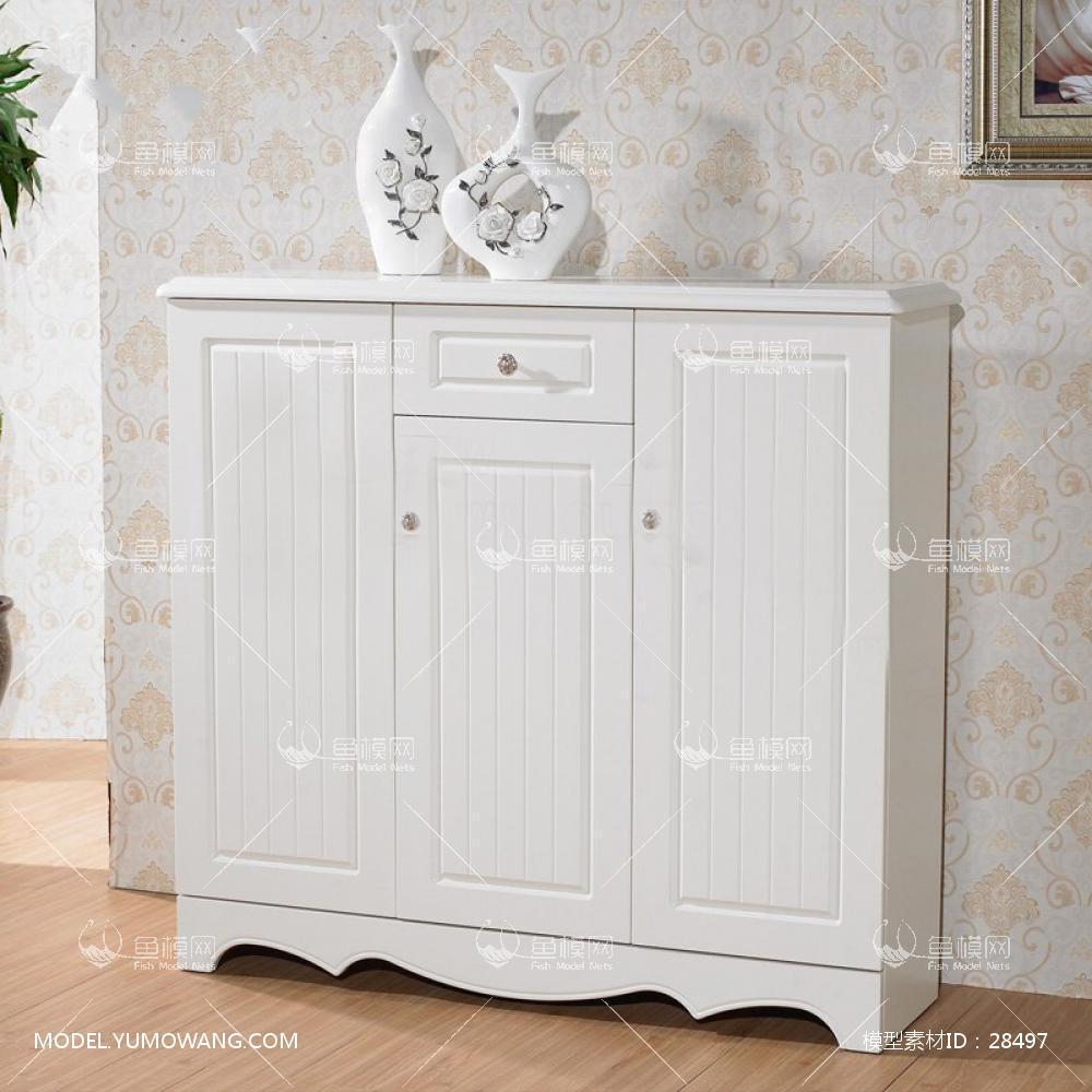 家具类柜子衣柜鞋柜欧式白色鞋柜,模型id:28497