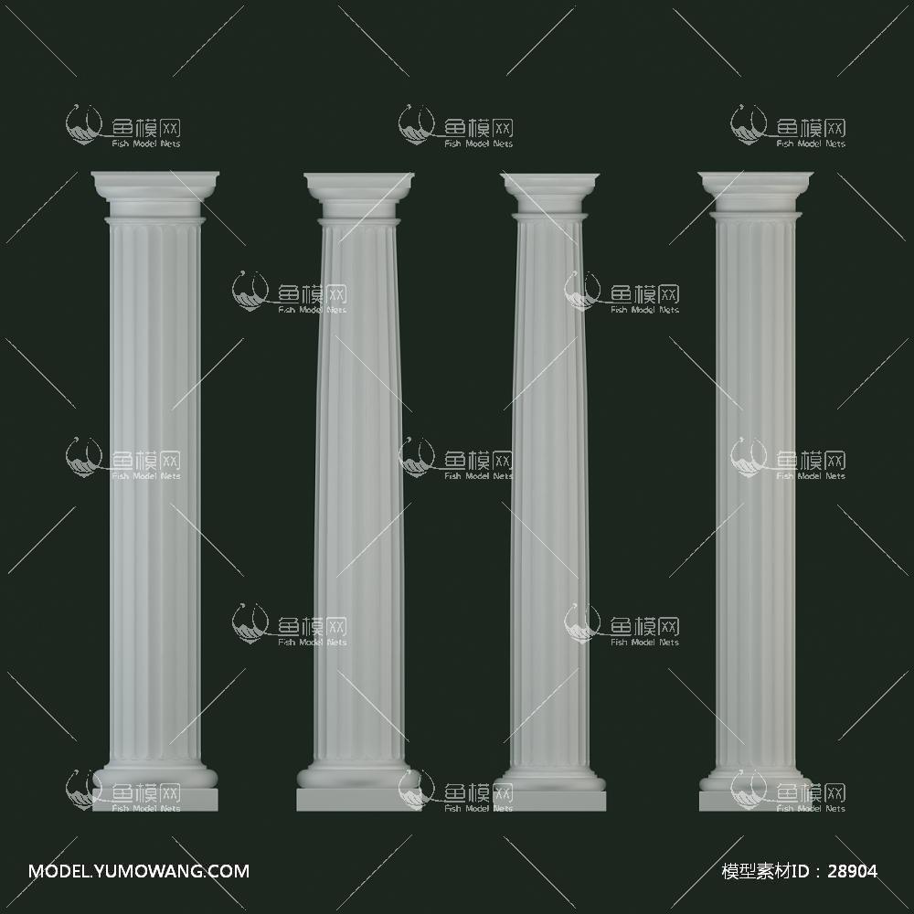 建模必备柱子石膏柱欧式石膏柱子组合 (2),模型id:28904