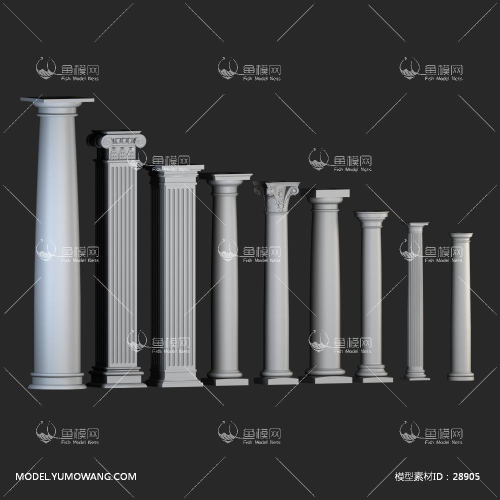 建模必备柱子石膏柱欧式石膏柱子组合 (3),模型id:28905