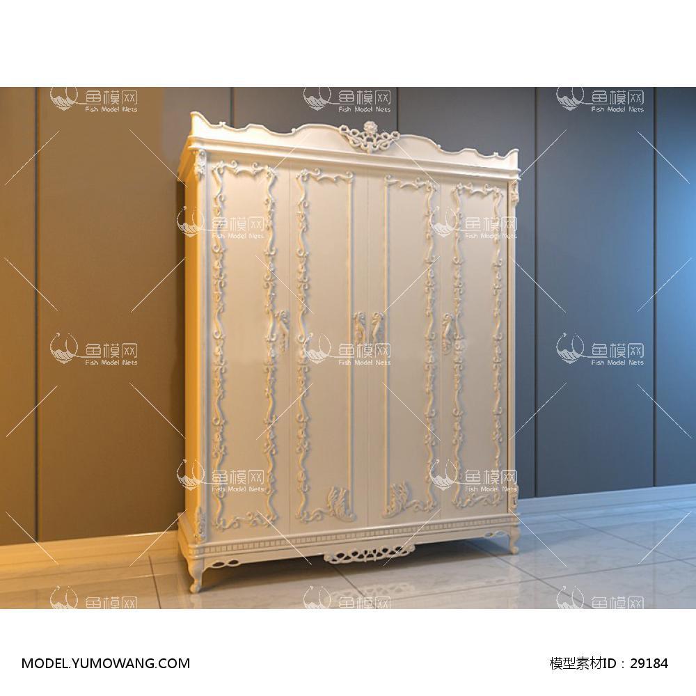 家具类柜子衣柜鞋柜欧式白色雕花衣柜,模型id:29184