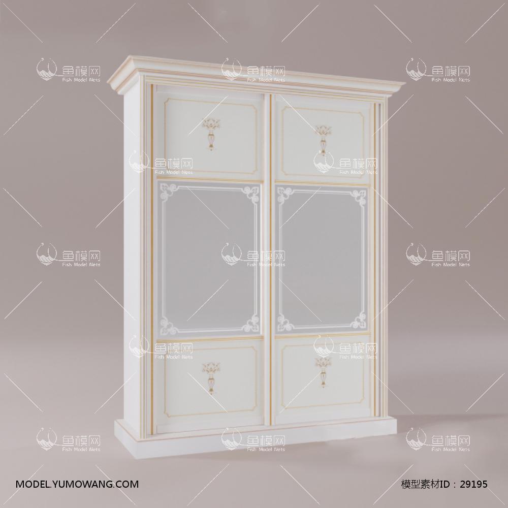 家具类柜子衣柜鞋柜欧式白色实木衣柜,模型id:29195