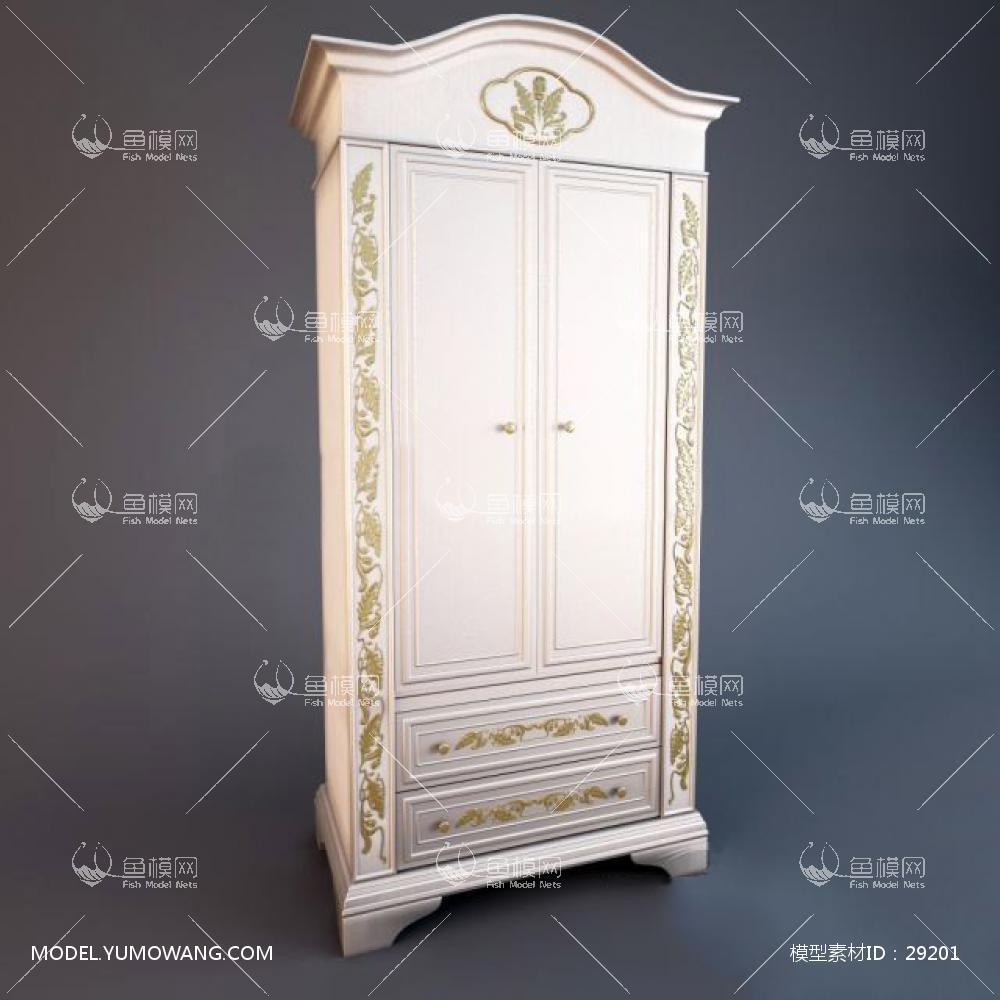 家具类柜子衣柜鞋柜欧式白色衣柜,模型id:29201