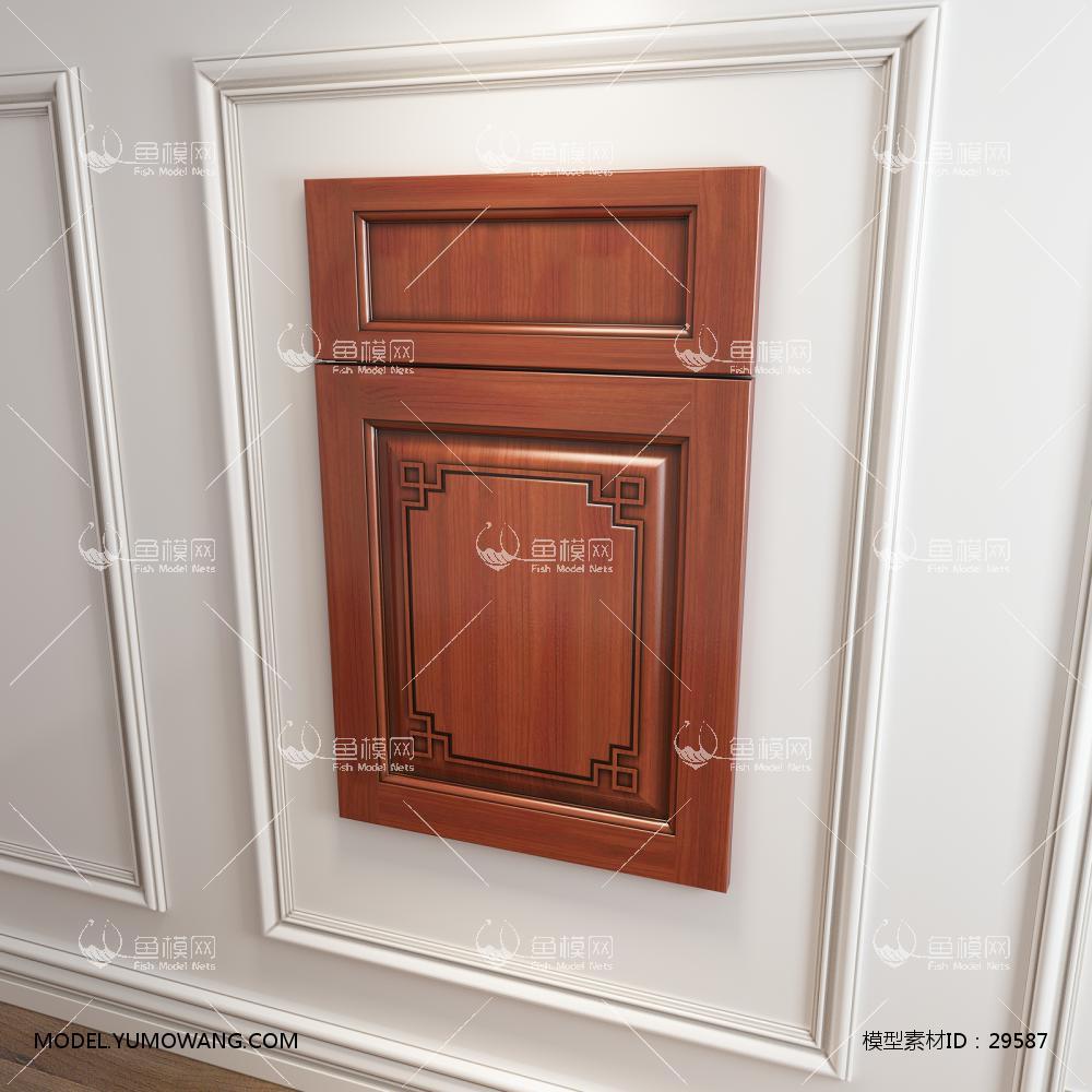 中式橱柜衣柜回型门板3D模型下载-[ID]29587