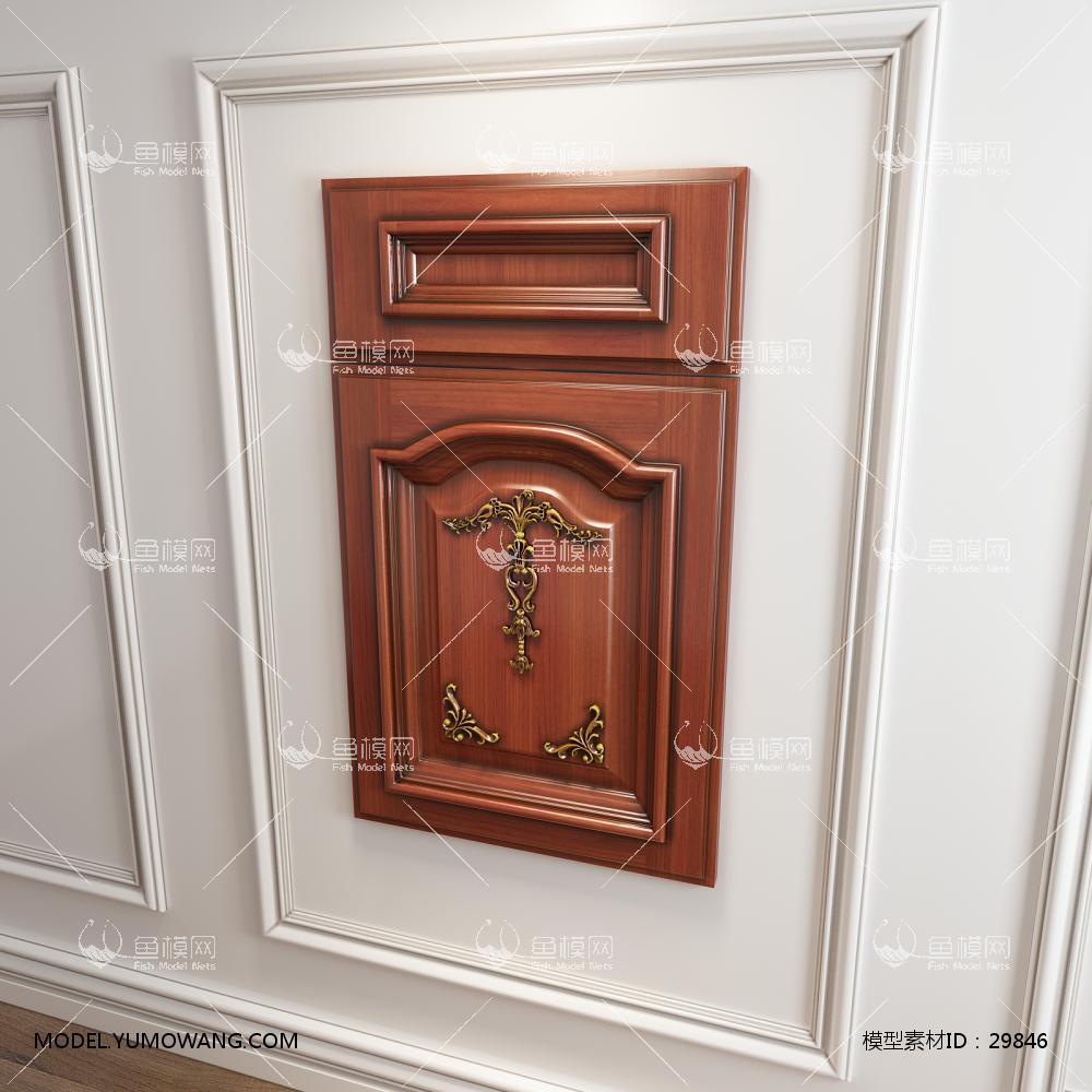 橱柜衣柜实木起拱雕花描金门板原创3D模型下载-[ID]29846