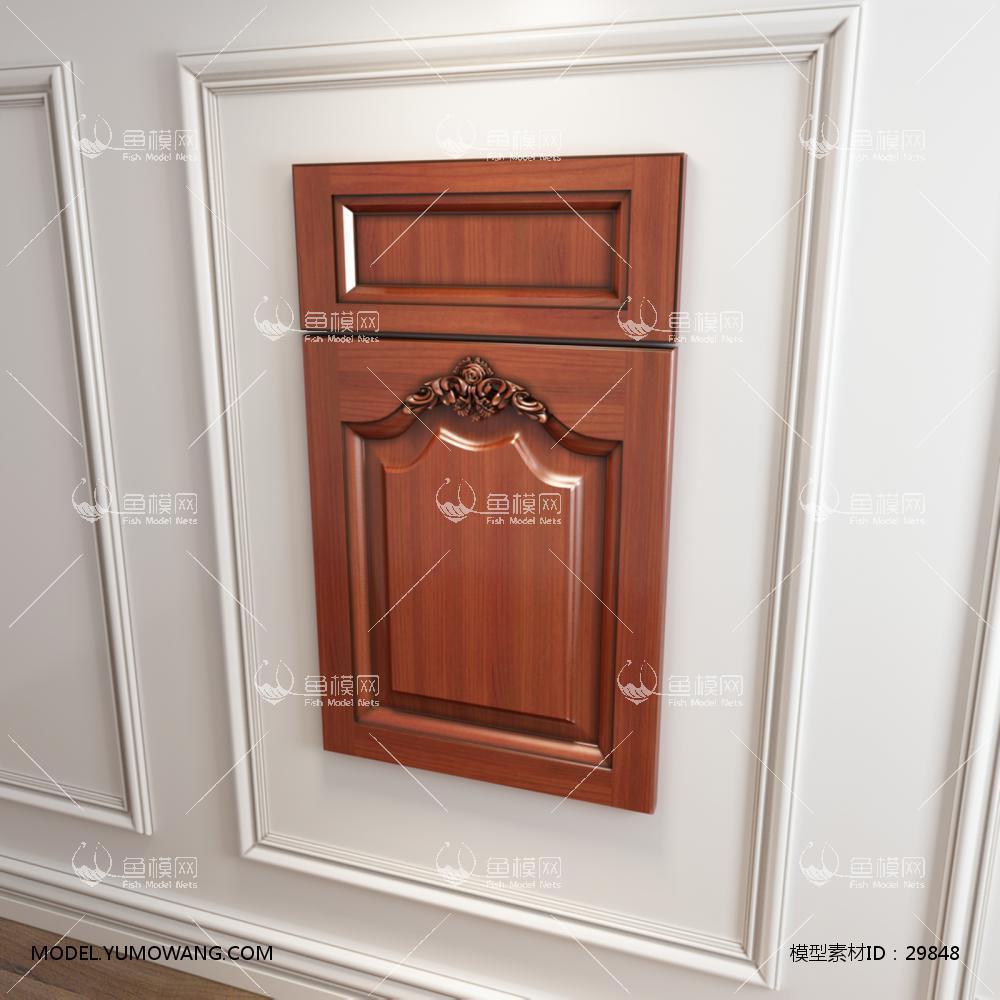 橱柜衣柜实木起拱雕花门板原创3D模型下载-[ID]29848