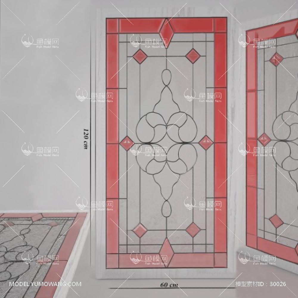 建模必备门窗窗户铜条雕花玻璃 (3),模型id:30026