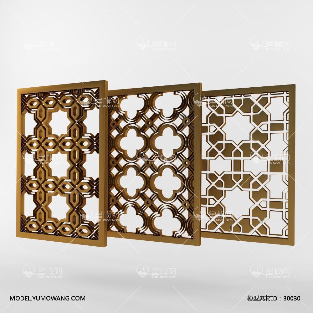 建模必备门窗窗户新中式窗格组合3d免费,模型id:30030