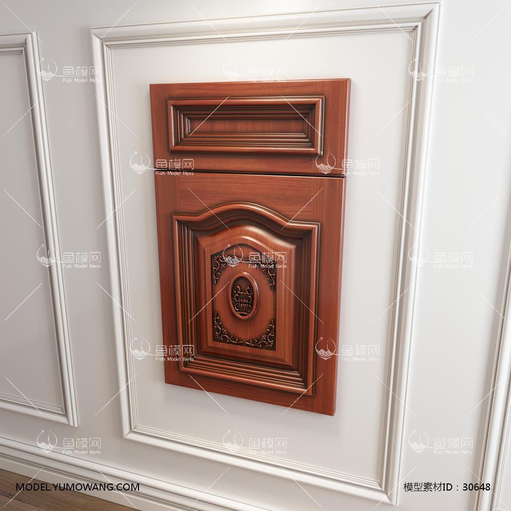 橱柜衣柜起拱雕花实木门板门型原创3D模型下载-[ID]30648