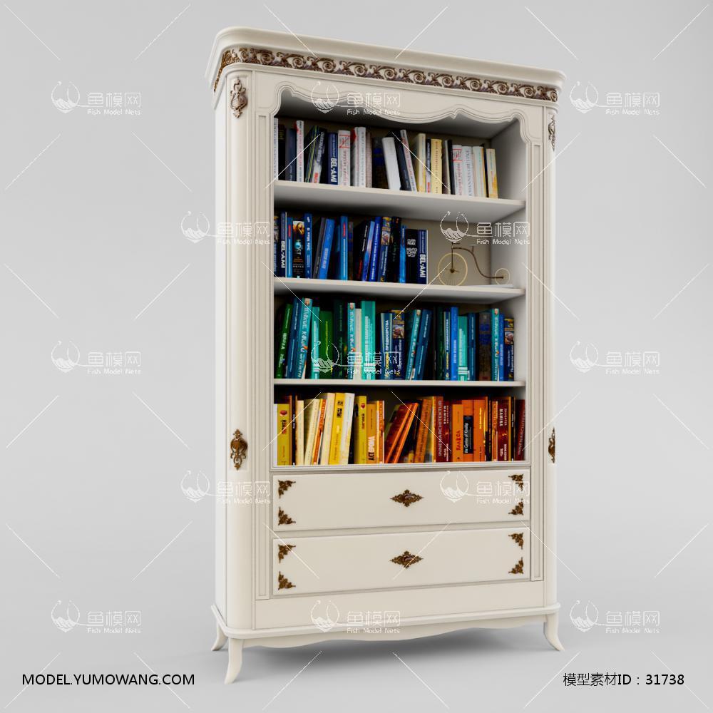 家具类柜子书柜书架欧式白色文件书柜3d模型,模型id:31738
