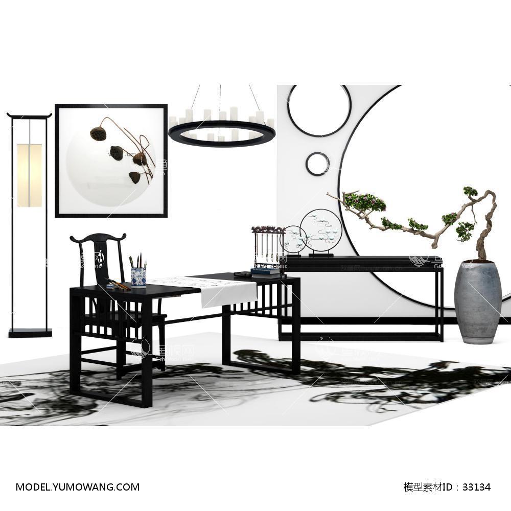 家具类家具组合新中式书桌椅盆栽吊灯组合3d模型,模型id:33134