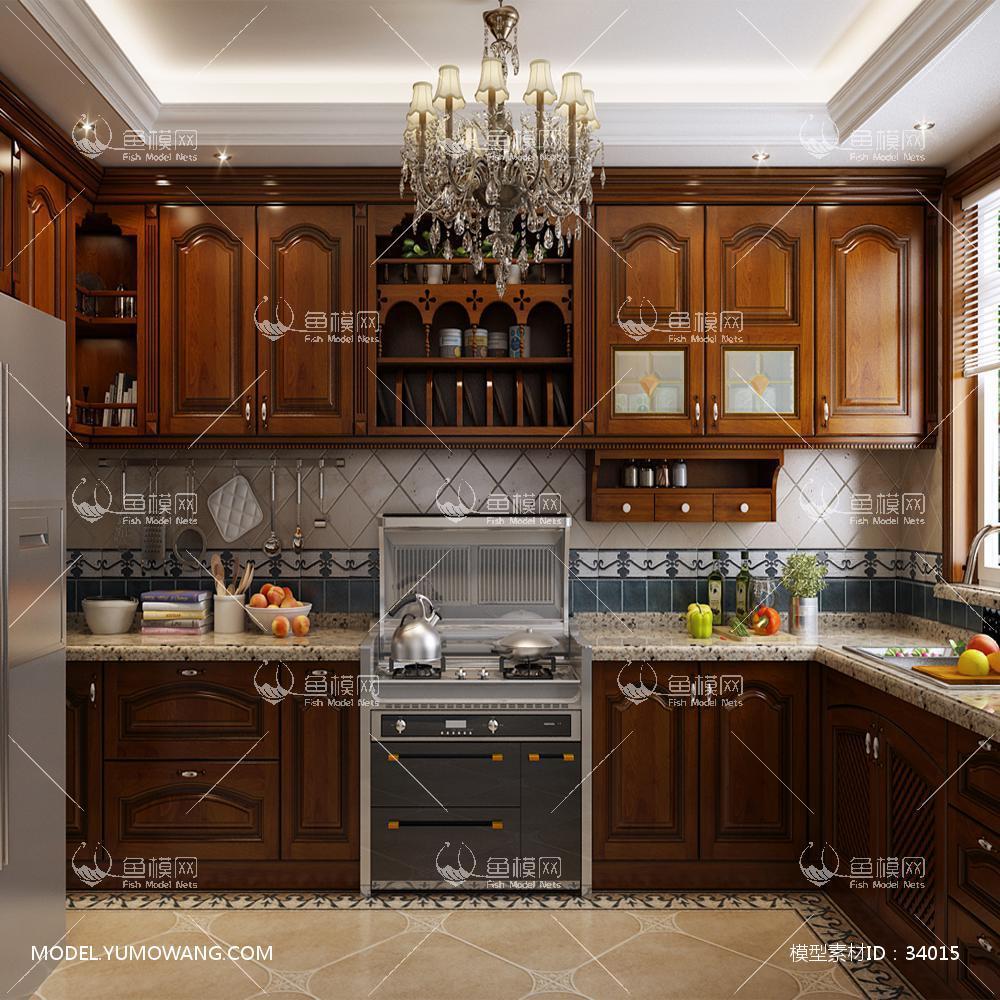 欧式定制实木厨房3D模型下载-[ID]34015