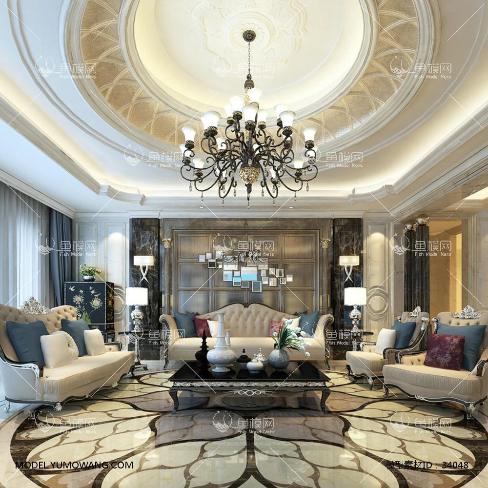 整体家装客厅空间欧式圆顶地砖拼花客厅,模型id:34048