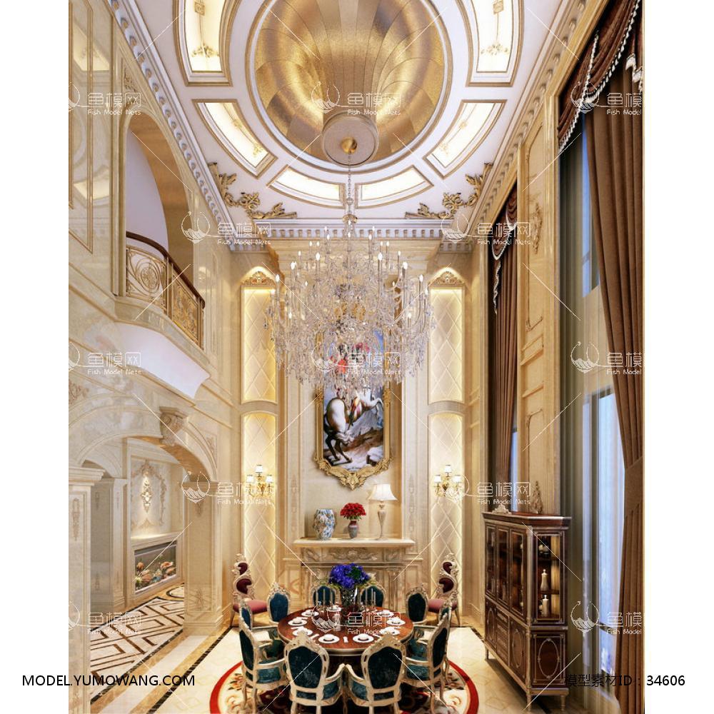 整体家装别墅大厅欧式风格别墅客厅 (28),模型id:34606