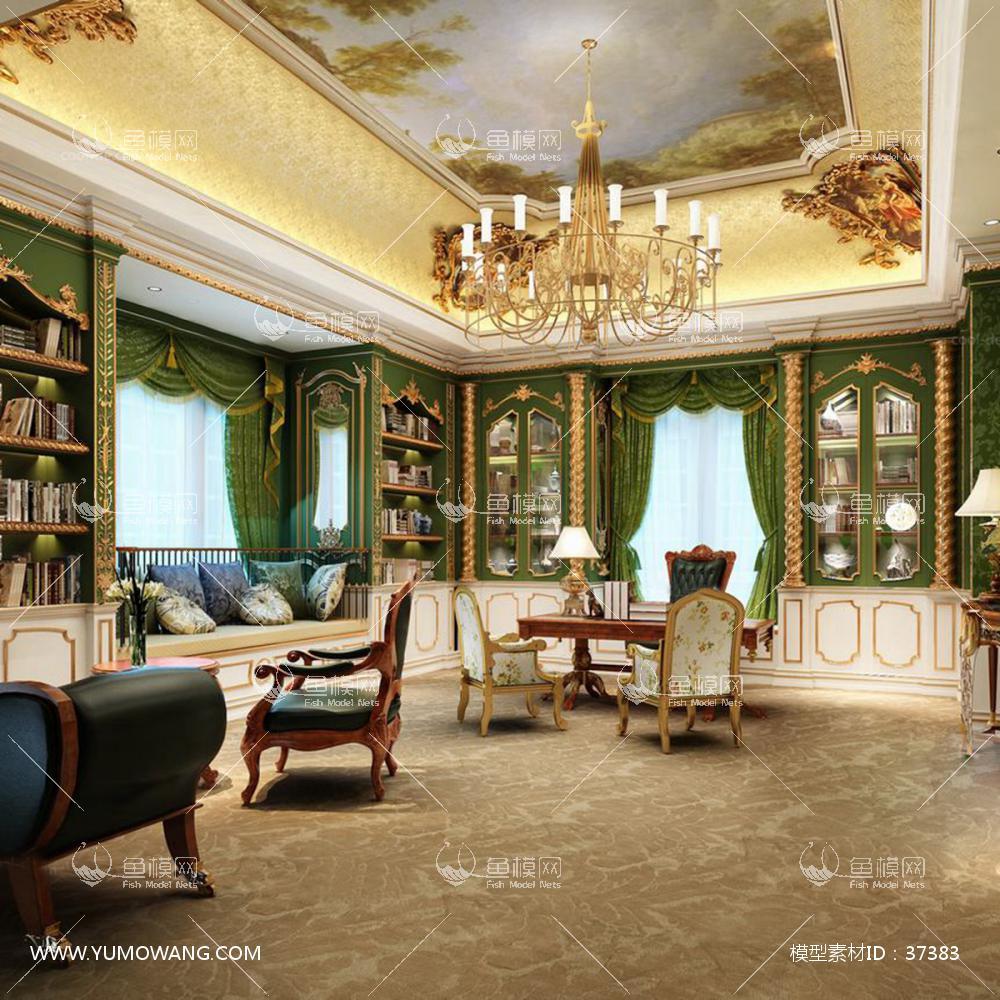书房空间 (14)3D模型下载-[ID]37383