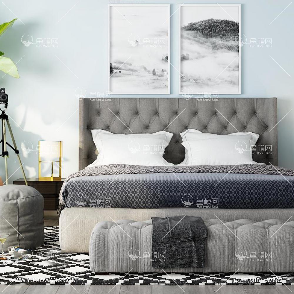 现代双人床床头柜组合23D模型下载-[ID]37687