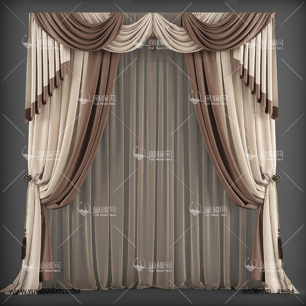 装饰类软装装饰窗帘欧式风格窗帘3d模型素材,模型id:39604