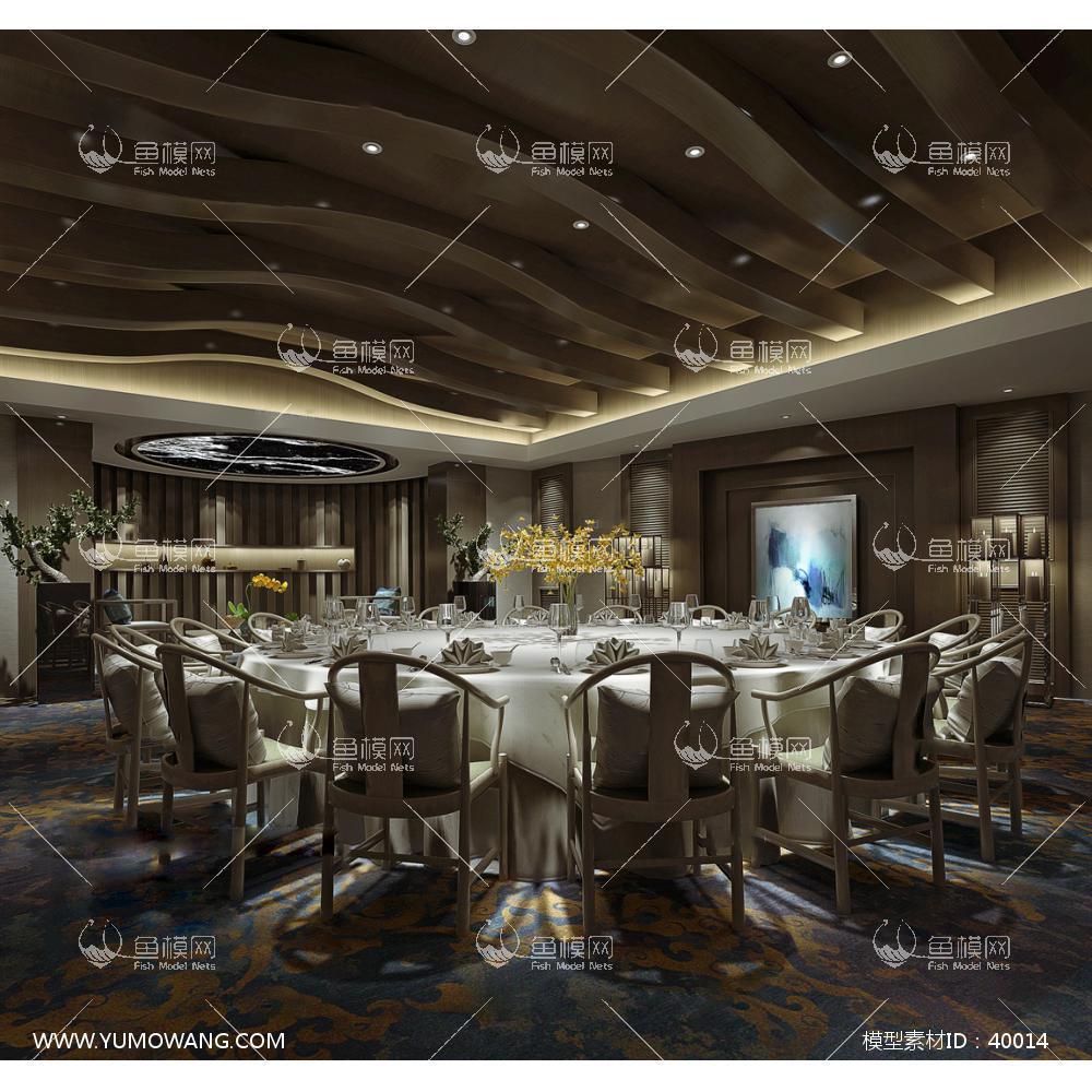工装空间餐饮空间餐厅包房新中式餐厅包房3d模型素材,模型id:40014