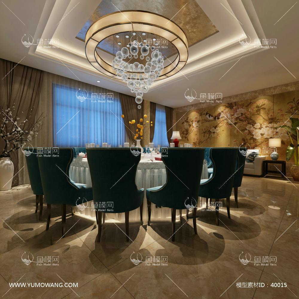 工装空间餐饮空间餐厅包房新中式餐厅包房3d模型素材,模型id:40015