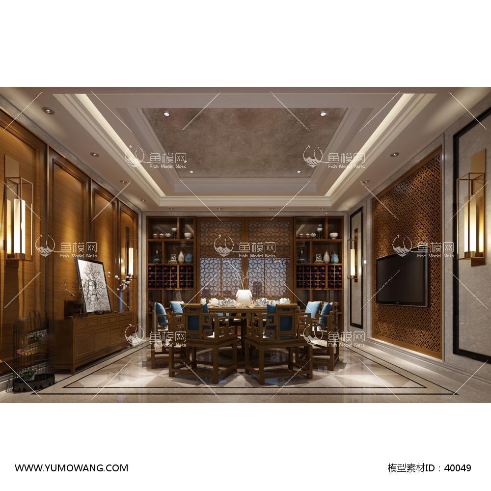 工装空间餐饮空间餐厅包房3d模型中式餐厅包房36,模型id:40049
