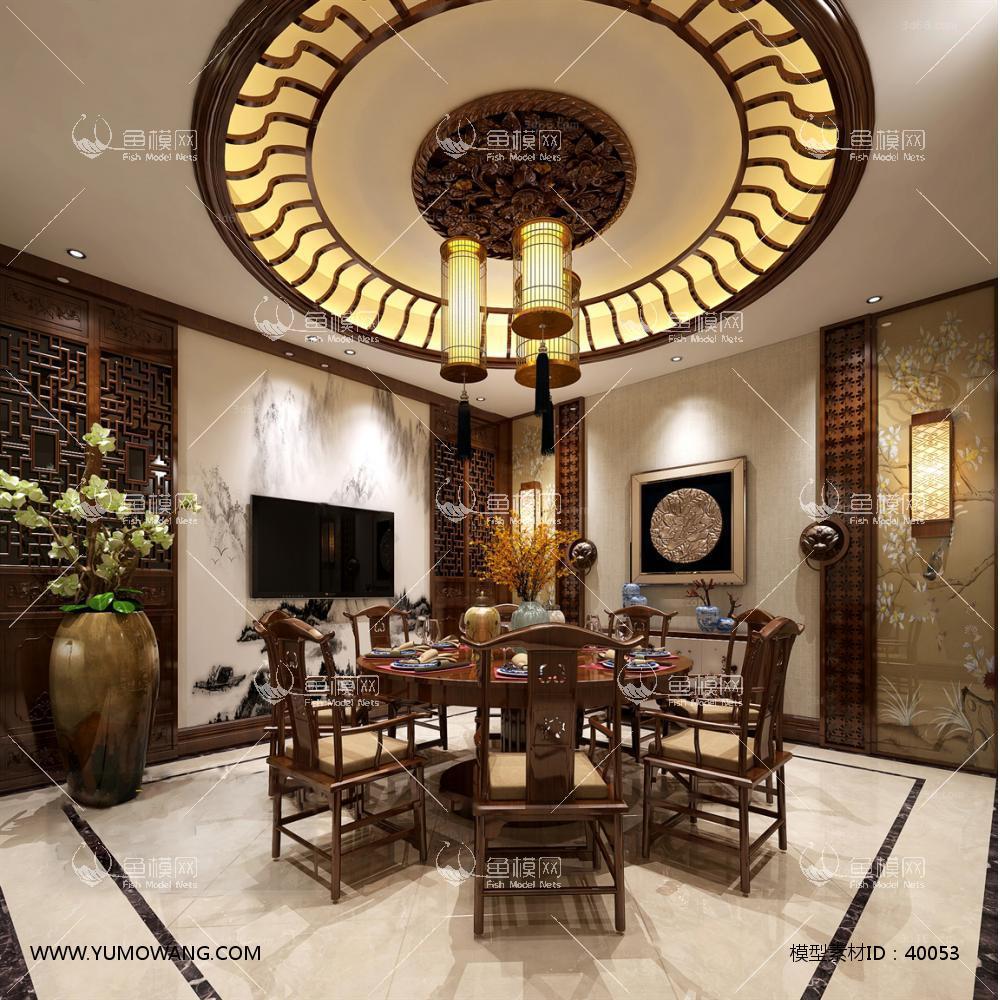 工装空间餐饮空间餐厅包房3d模型中式餐厅包房(19),模型id:40053