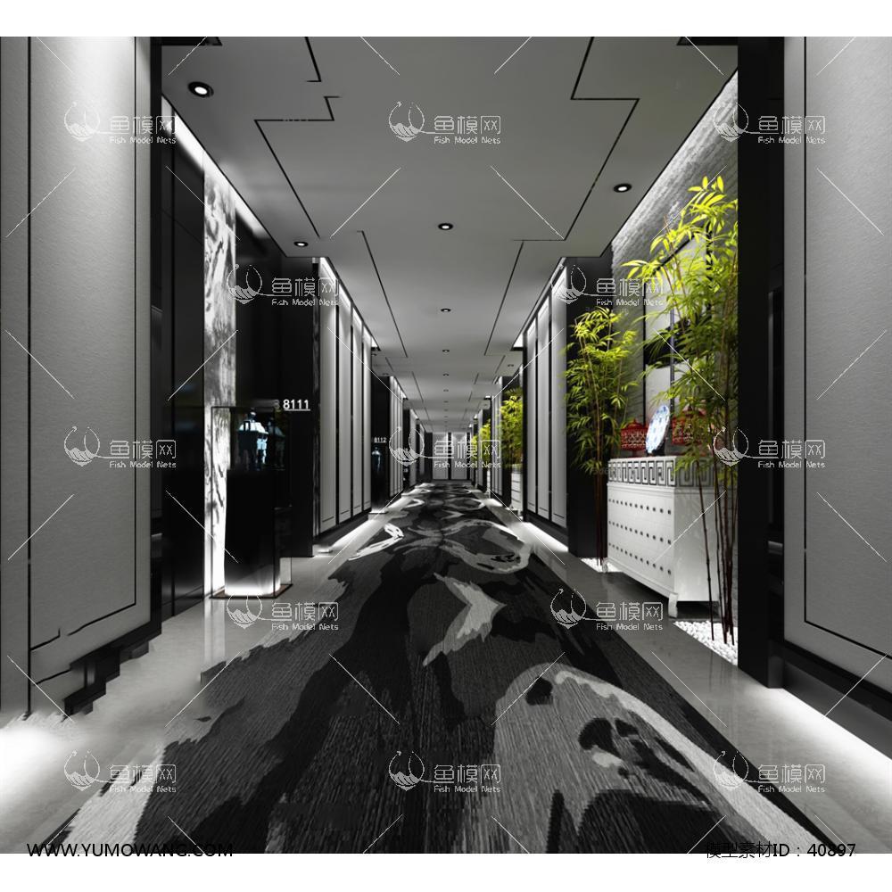 中式风格电梯过道433d模型下载-[id]40897