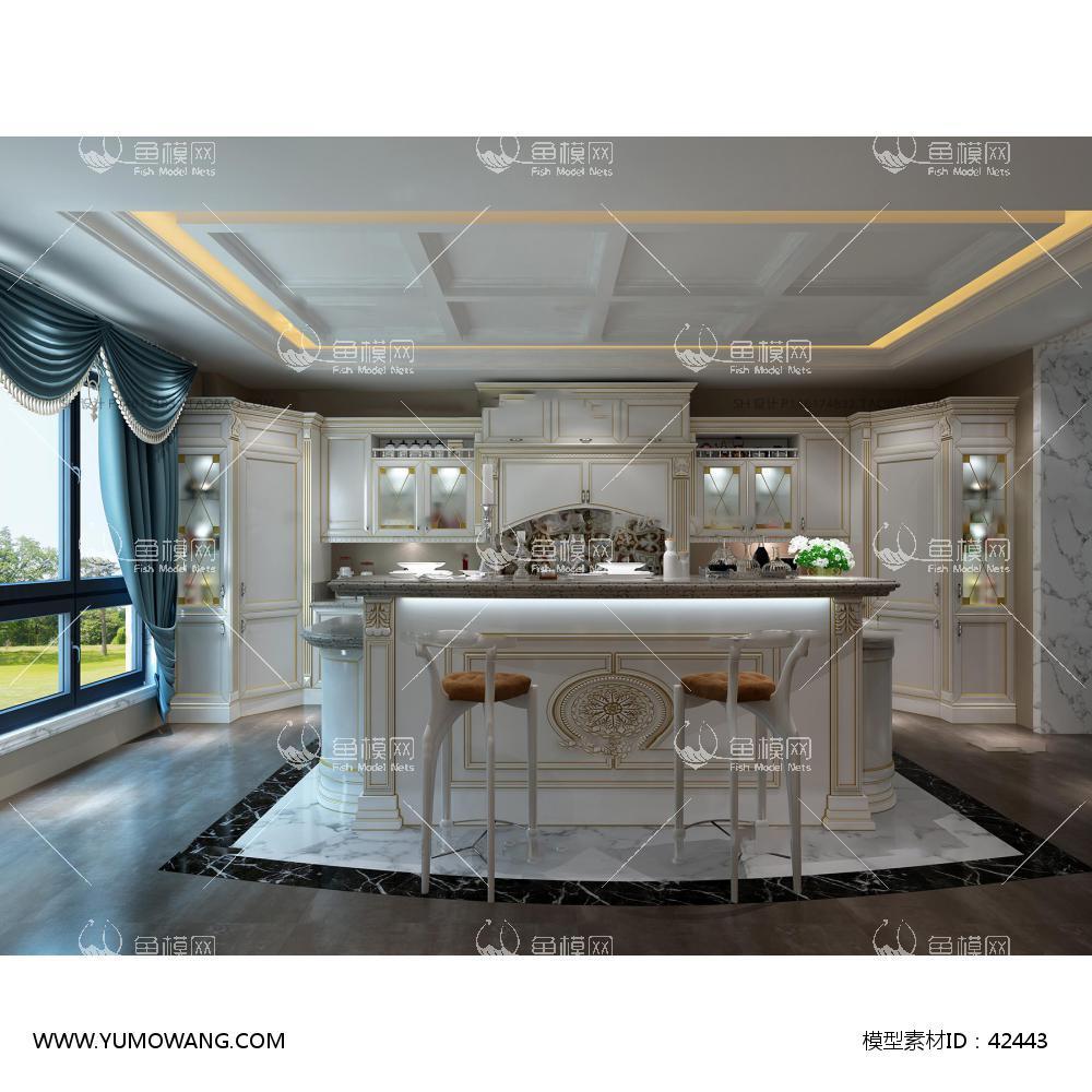 欧式开放式厨房橱柜3D模型下载-[ID]42443