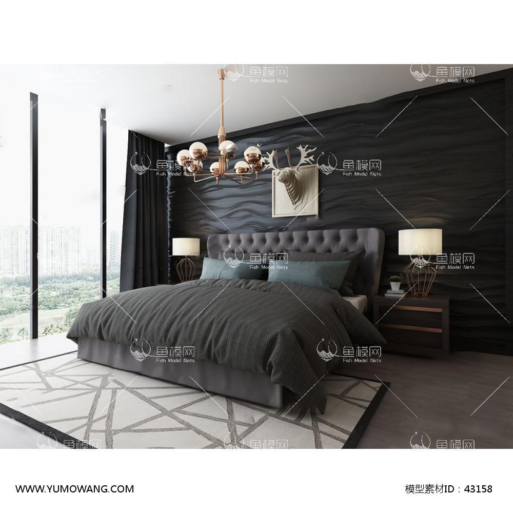 后现代双人床吊灯组合3D模型下载-[ID]43158