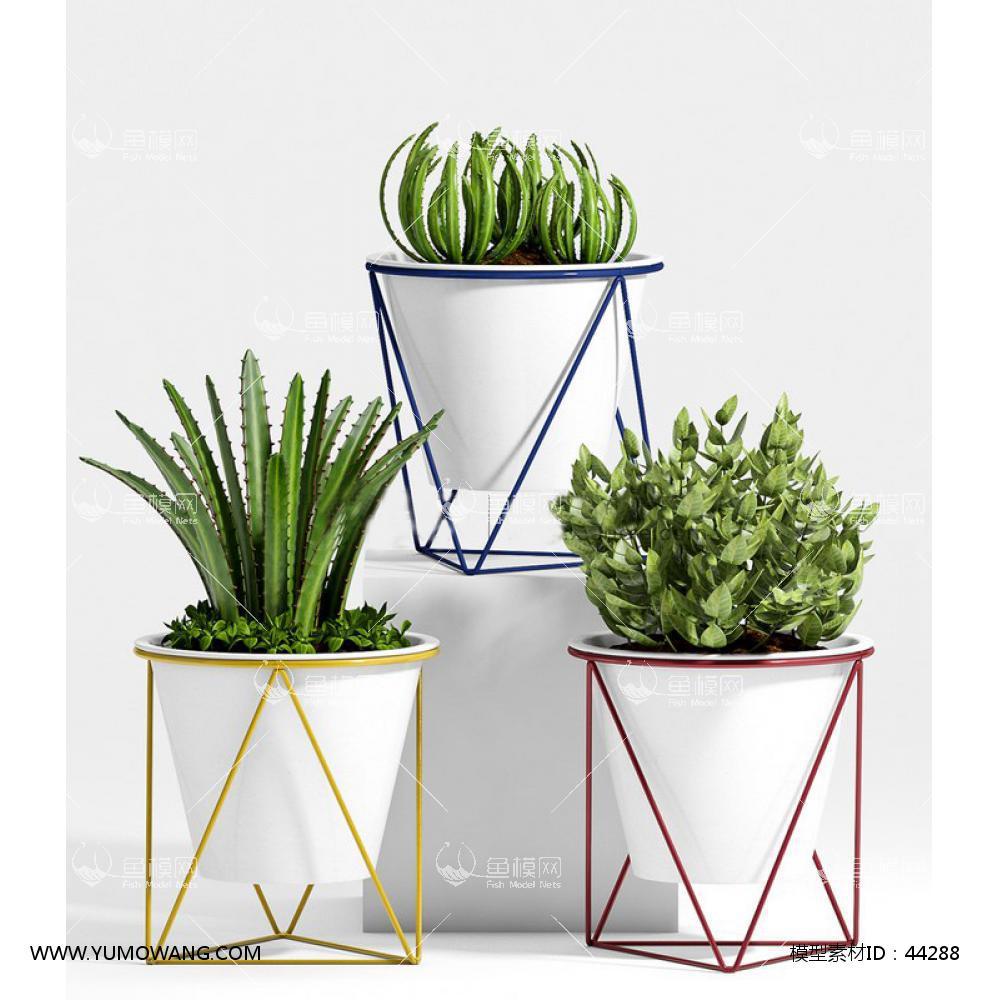 室内绿植花盆3D模型下载-[ID]44288