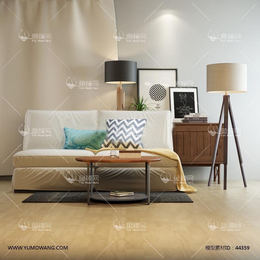 现代沙发茶几组合3D模型下载-[ID]44359
