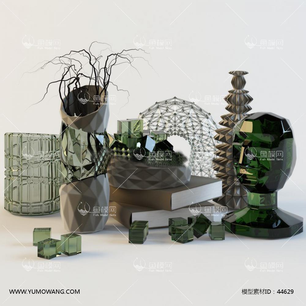 花瓶书籍3D模型下载-[ID]44629
