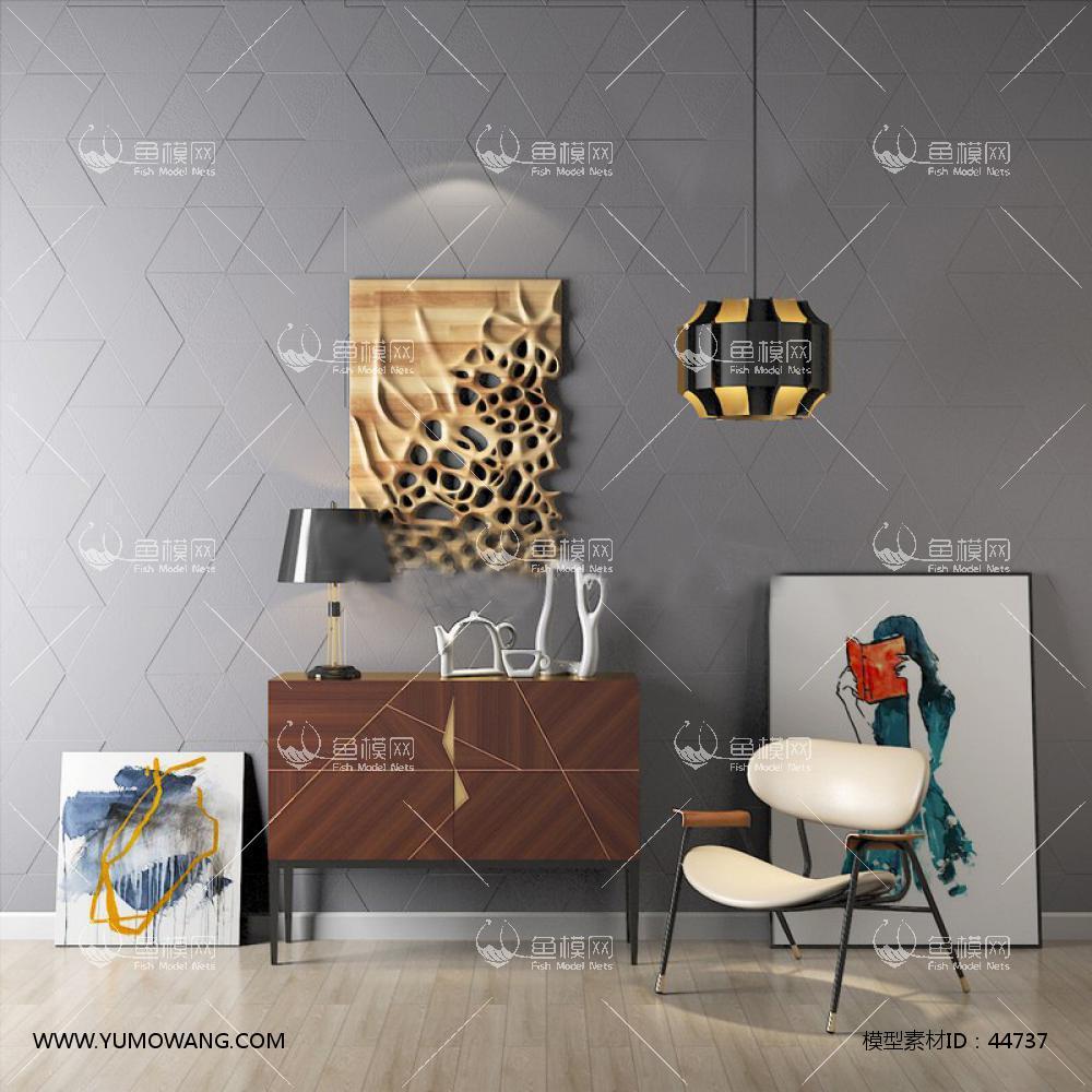 现代单人椅边柜3D模型下载-[ID]44737