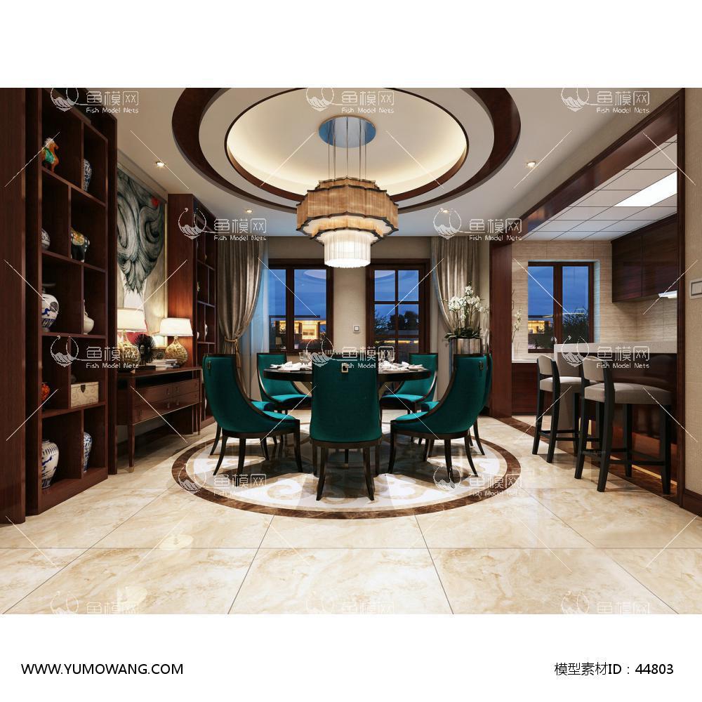 新中式餐厅3D模型--传统与现代地完美融合