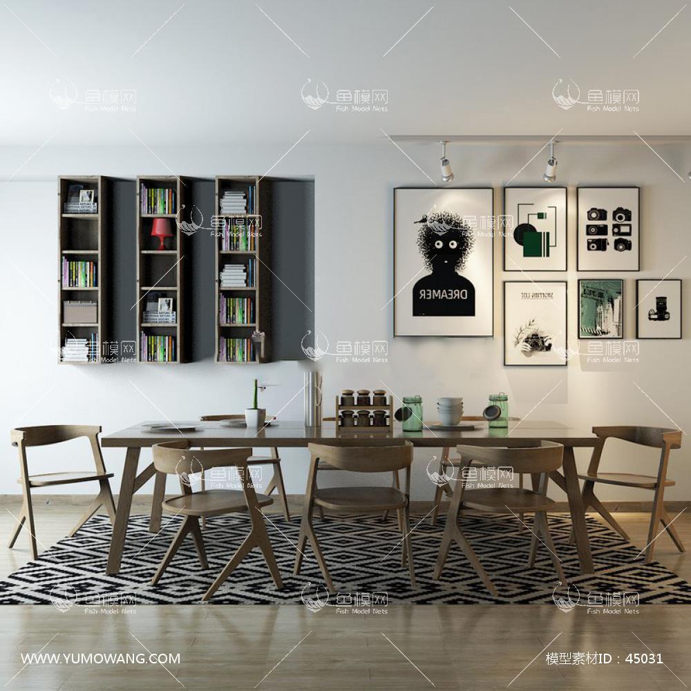 新中式实木餐桌椅书架3D模型下载-[ID]45031
