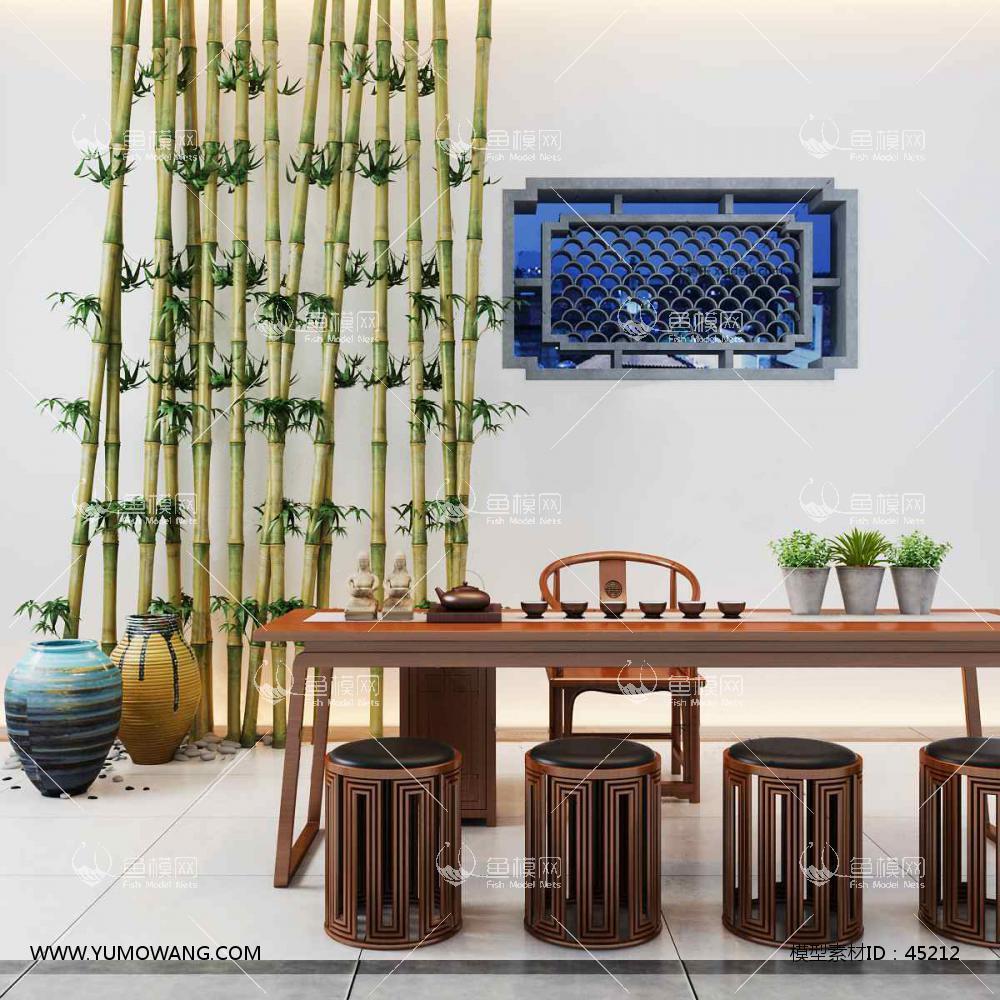 新中式桌椅组合63D模型下载-[ID]45212