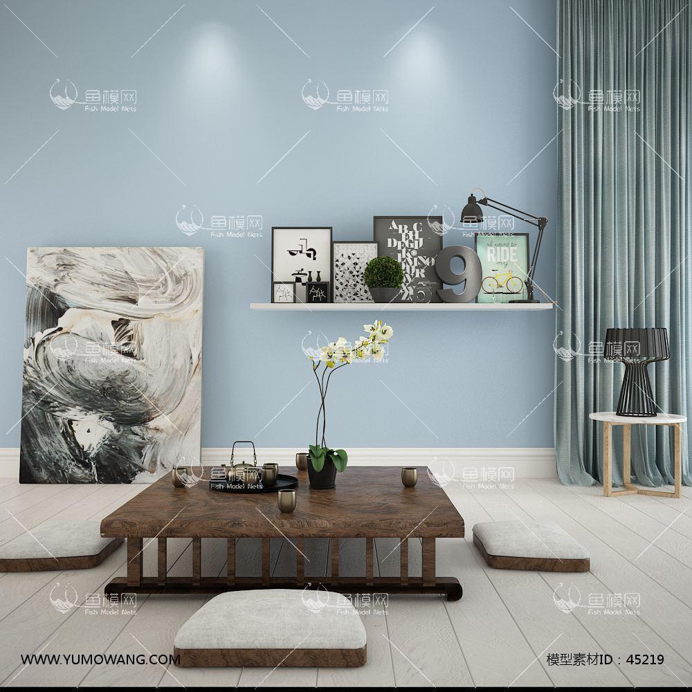 中式茶案桌椅组合33D模型下载-[ID]45219