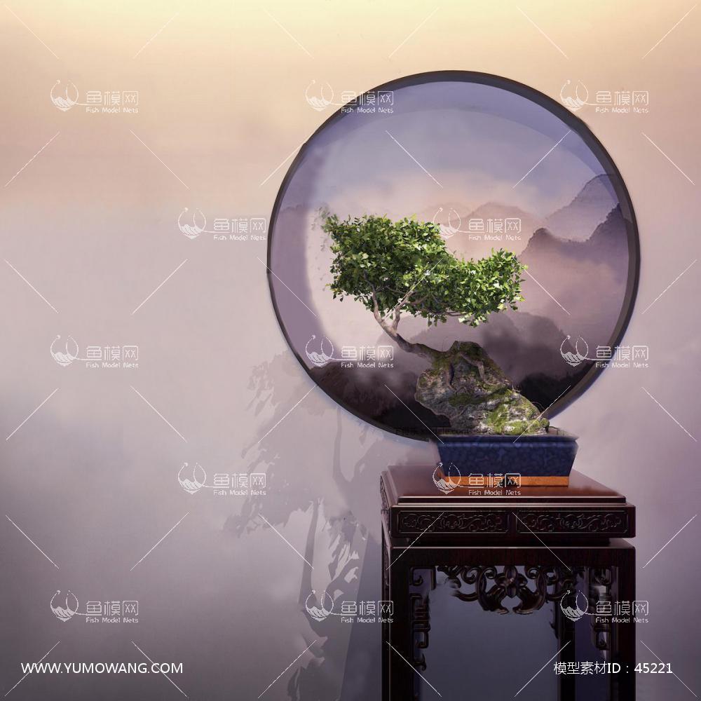 新中式松树盆栽3D模型下载-[ID]45221
