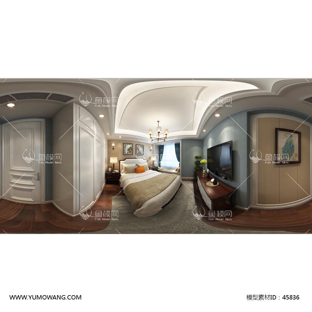 美式卧室风格3D模型下载-[ID]45836