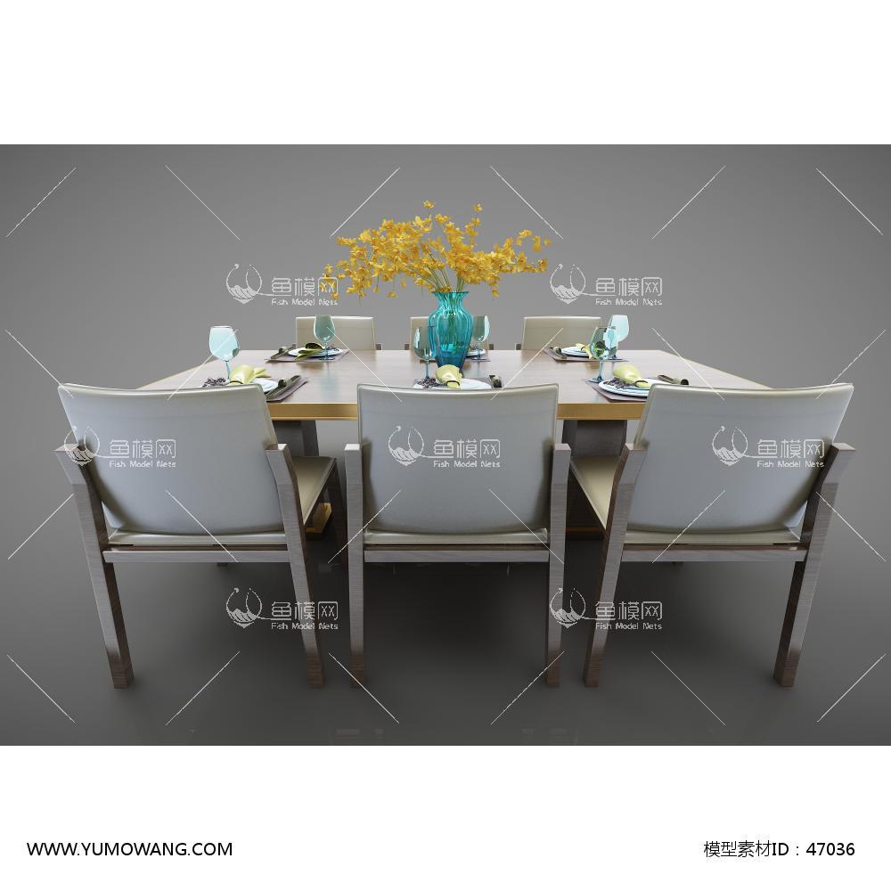 新中式风格餐桌椅3D模型下载-[ID]47036