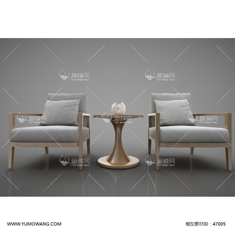 新中式风格单人沙发圆几组合3d模型