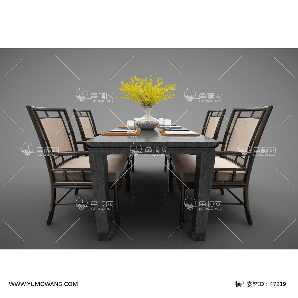 新中式风格餐桌3D模型下载-[ID]47219