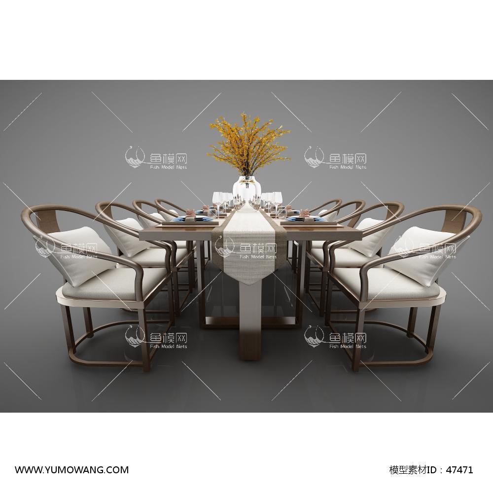 新中式风格餐桌3D模型下载-[ID]47471