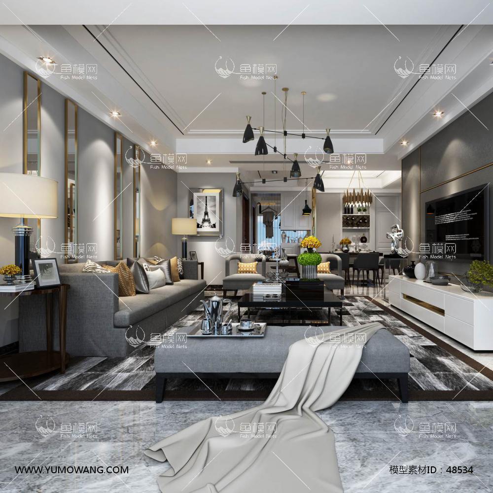 轻奢风格整体家装客厅空间3D模型下载-[ID]48534