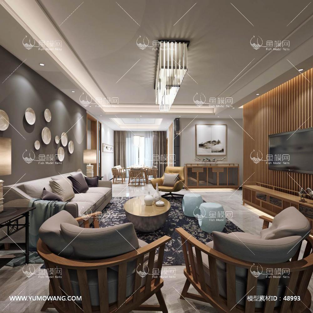 新中式风格整体家装客厅空间3D模型下载-[ID]48993