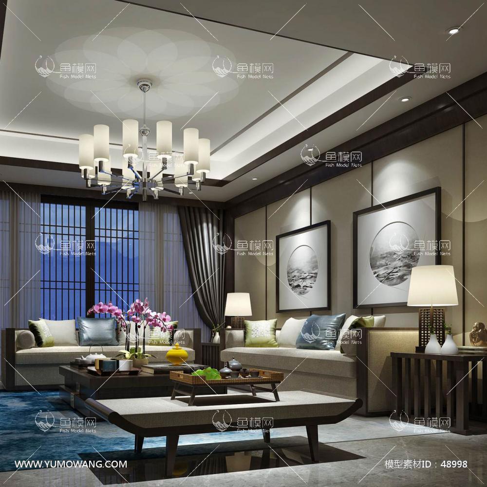 新中式风格整体家装客厅空间3D模型下载-[ID]48998