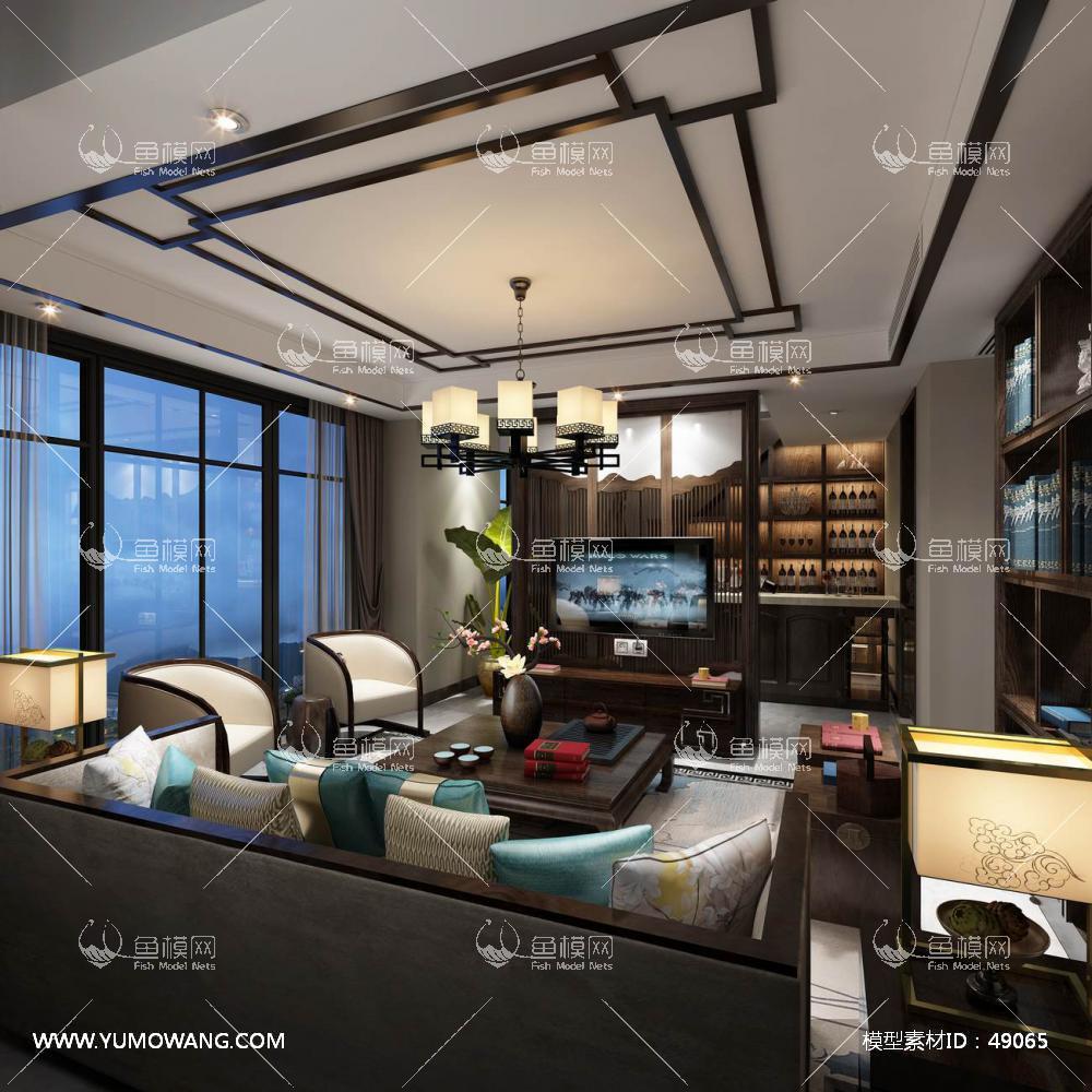 中式风格整体家装客厅空间3D模型下载-[ID]49065