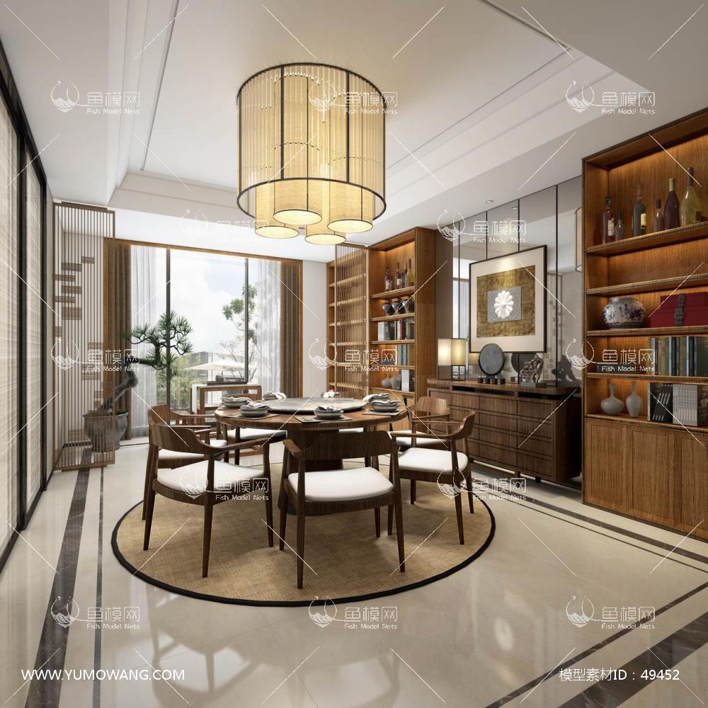 新中式风格整体家装餐厅空间3D模型下载-[ID]49452