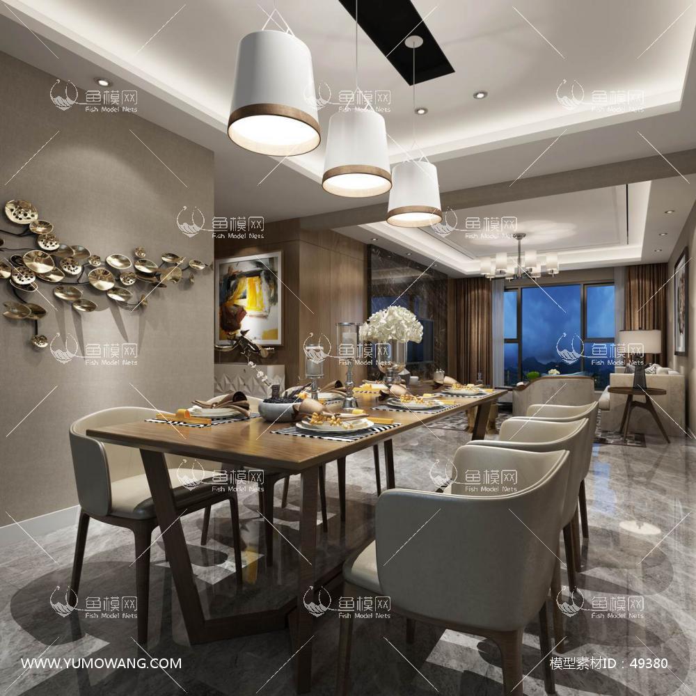 现代风格整体家装餐厅空间3D模型下载-[ID]49380