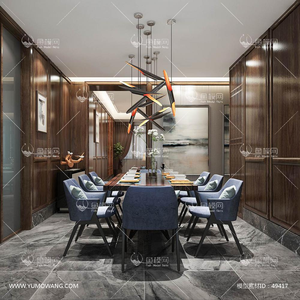 新中式风格整体家装餐厅空间3D模型下载-[ID]49417