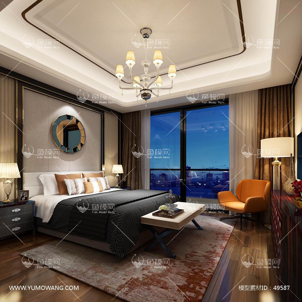 轻奢风格整体家装卧室空间主卧室3D模型下载-[ID]49587